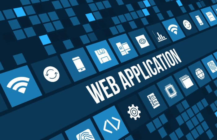 Web Application Concept Image With Technology Icons And Copyspace